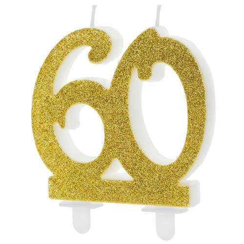 Tårtljus, guldglitter, 60 år