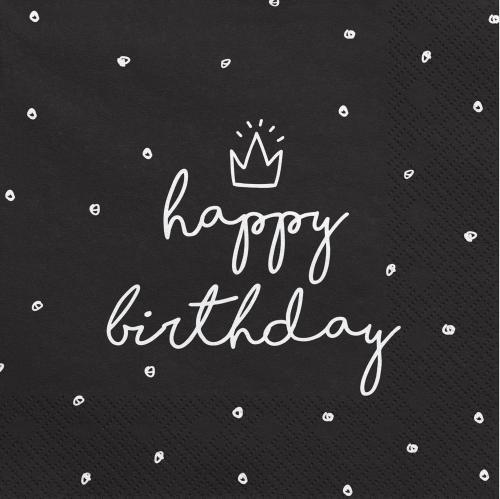 Servetter Svarta Happy Birthday