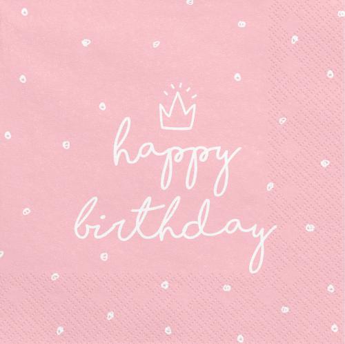 Servetter Rosa Happy Birthday