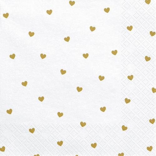 Servetter Vita med Guldiga Hjärtan