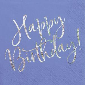 Servetter Blå Happy Birthday Glitter