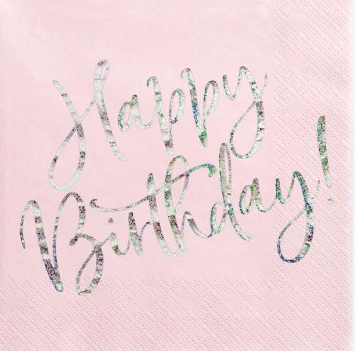 Servetter Rosa Happy Birthday Glitter