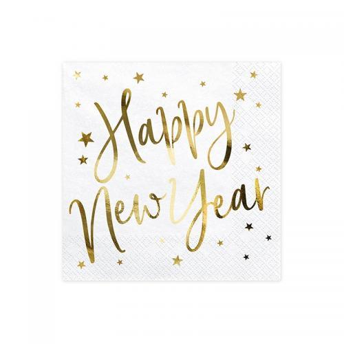 "Servett ""Happy New Year"", vit"