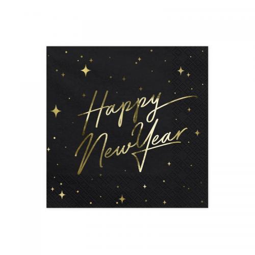 """Servett """"Happy New Year"""", svart"""
