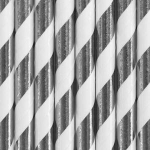 Papperssugrör spiral silver