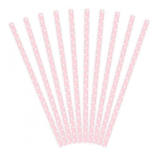 Papperssugrör prickar rosa