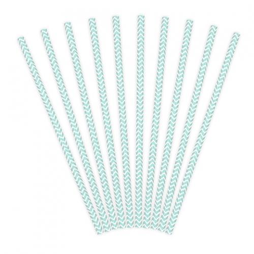 Papperssugrör chevron ljusblå