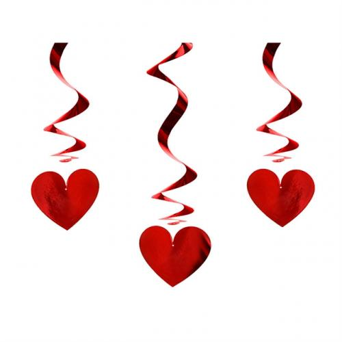Röda Hjärtan Swirls