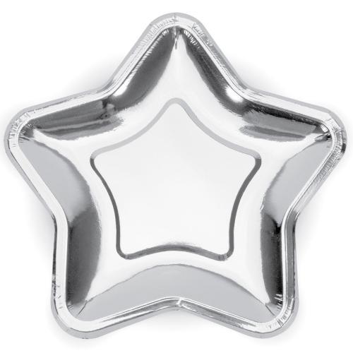 Stjärnformade Papperstallrikar Silver