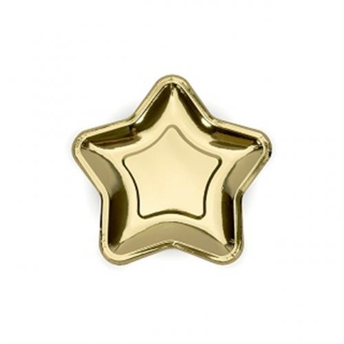 Stjärnformade Papperstallrikar Guld