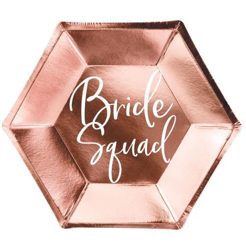 Papperstallrikar Bride squad, roséguld