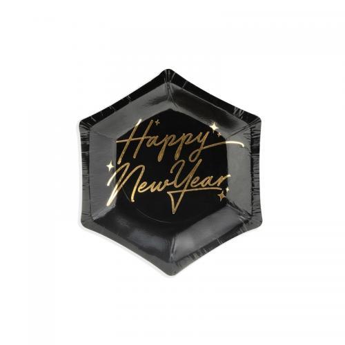 Papperstallrik svart, Happy New Year, 12,5 cm