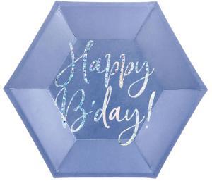 Papperstallrikar Blå Happy Birthday