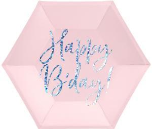 Papperstallrikar Ljusrosa Happy Birthday