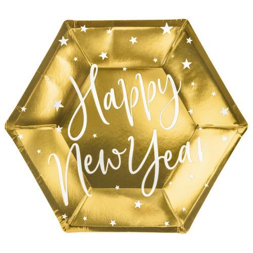 Papperstallrik guld, Happy New Year, 20 cm