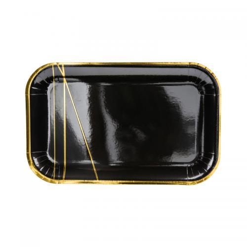 Papperstallrik svart, 22x13,5 cm