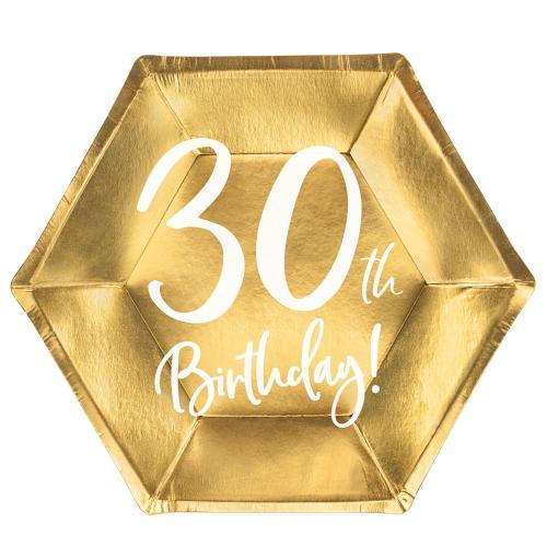 Papperstallrikar Guld 30 år 6-pack
