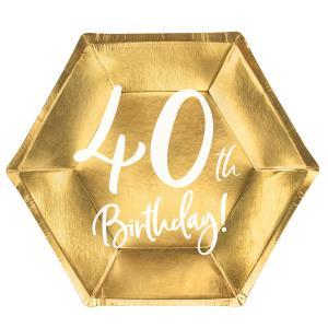 Papperstallrikar Guld 40 år 6-pack