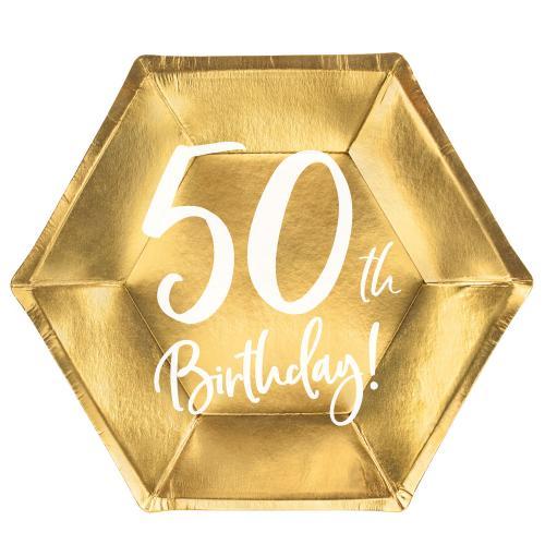 Papperstallrikar Guld 50 år 6-pack