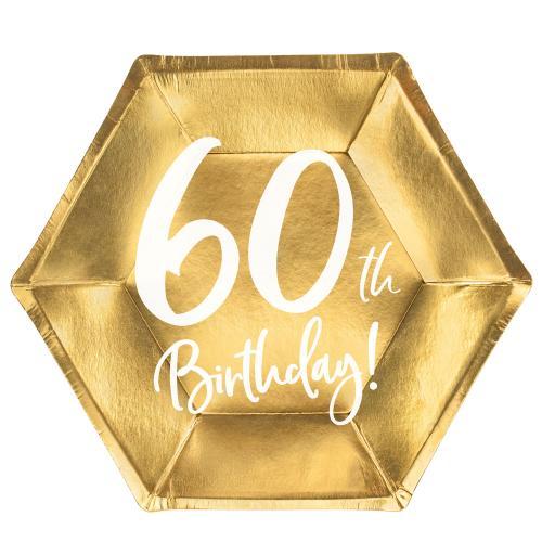 Papperstallrikar Guld 60 år 6-pack
