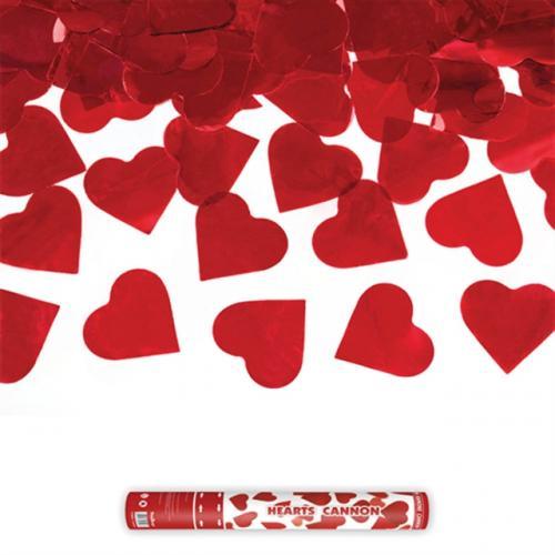 Konfettikanon Hjärtan Röd 40 cm