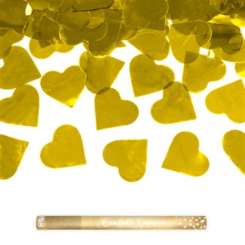 Konfettikanon Hjärtan Guld 60 cm