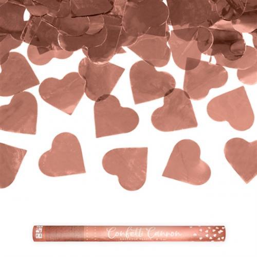 Konfettikanon Hjärtan Roséguld 60 cm