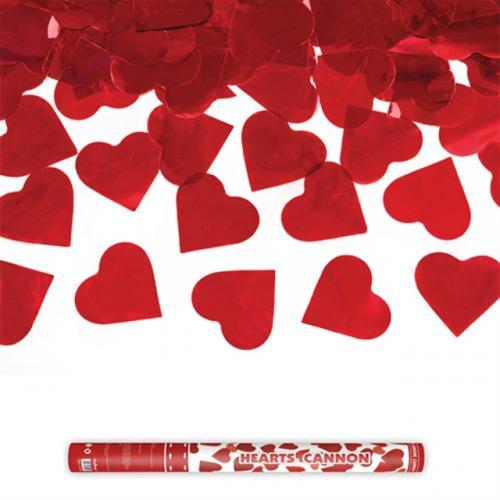 Konfettikanon Hjärtan Röd 60 cm