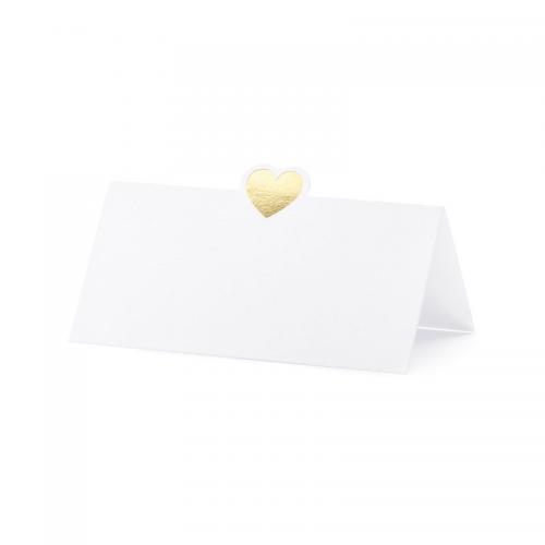 Blankt placeringskort hjärta Guld