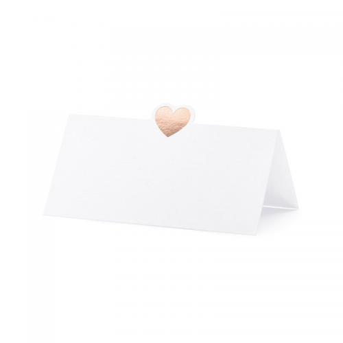 Blankt placeringskort hjärta Rose gold