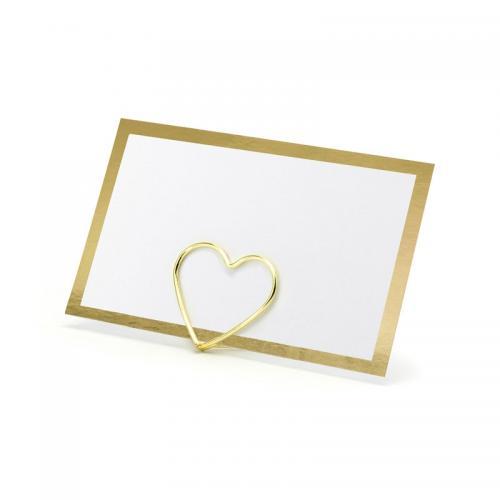 Blankt placeringskort med metallicram Guld
