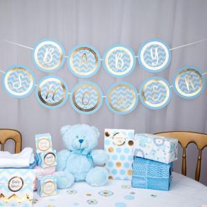 Ljusblå Baby Shower-girlang