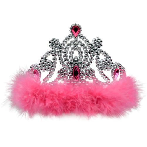 Krona med rosa päls