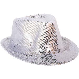 Trilby-hatt Paljetter Silver Deluxe