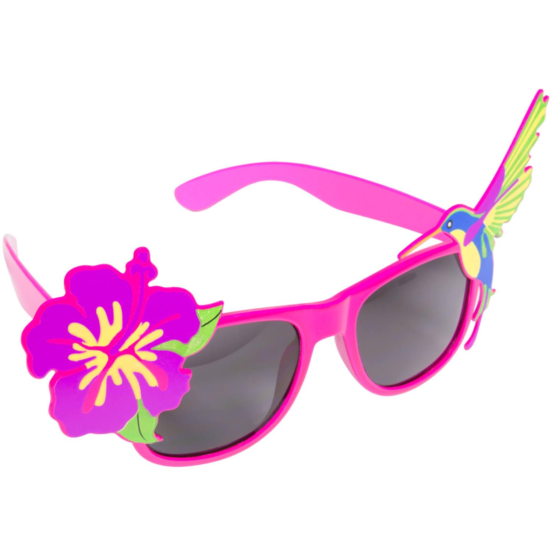 Rosa Glasögon med Blomma och Fågel