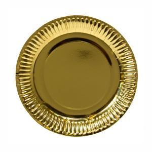 Papperstallrik, Metallic guld, 23 cm