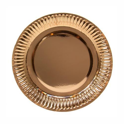 Papperstallrik, Metallic rose gold, 23 cm