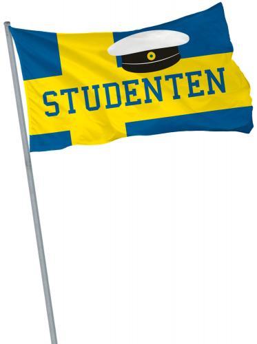 """60x90 cm stor sverigeflagga med texten """"studenten"""" och en studentmössa"""