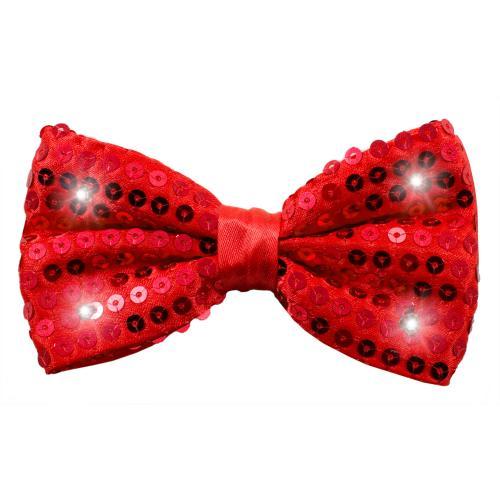 Partyfluga med paljetter och LED-lampor Röd