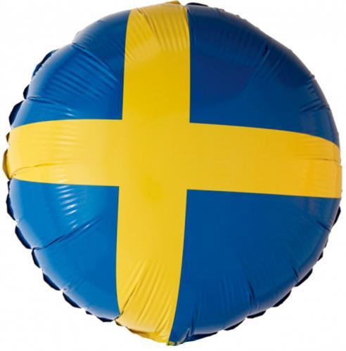 rund folieballong med svenskaflaggan-motiv