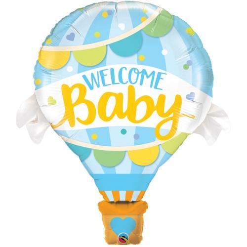 """42"""" (106 cm) Welcome Baby Blå Ballong"""