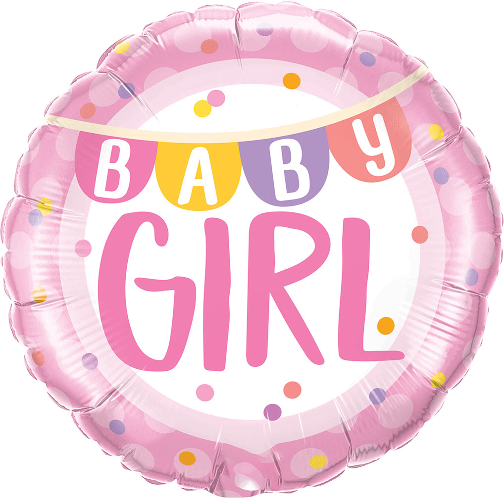 "18"" (46 cm) Baby Girl Banner & Dots"