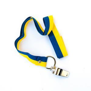 Visselpipa i metall med gult och blått band