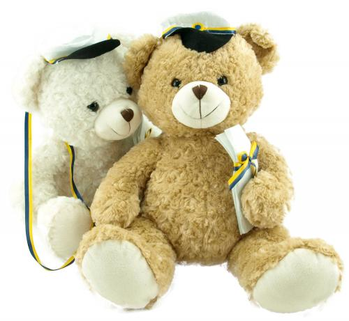 Ljusbrun och vit studentnallen med gult och blått band