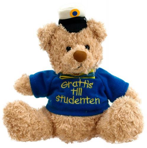 """Ljusbrun studentnalle med blå tröja och texten """"grattis till studenten"""""""