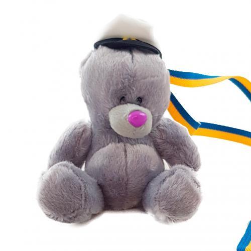Nalle Student grå m hatt 15 cm