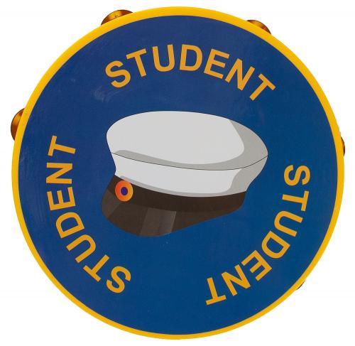 """Blå tamburin i plast med texten """"student"""" och en studentmössa"""