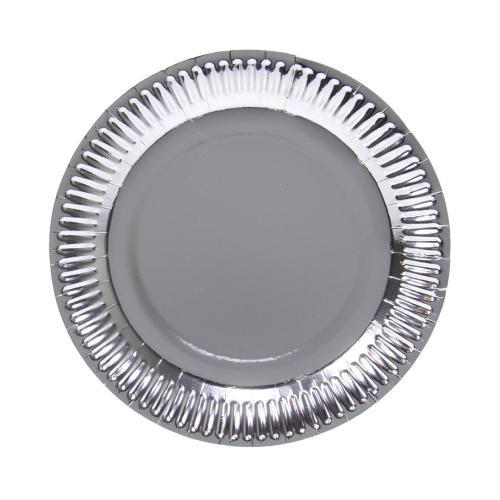 Papperstallrik, Metallic silver, 23 cm