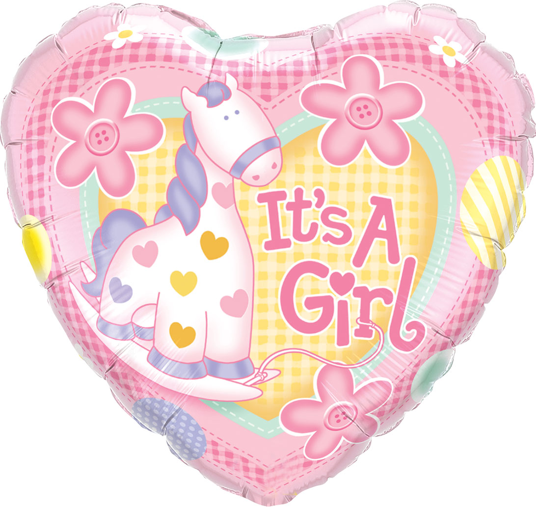 """18"""" (46 cm) Hjärta Det är en flicka"""
