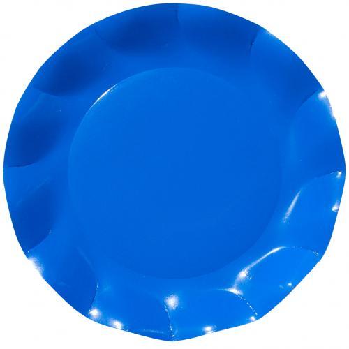 Stor tallrik Vågig kant Koboltblå